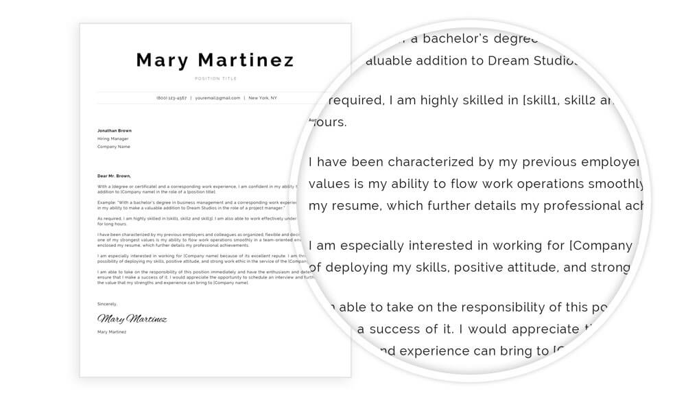 "Cover letter template with content example included in ""Mary"" resume template pack"