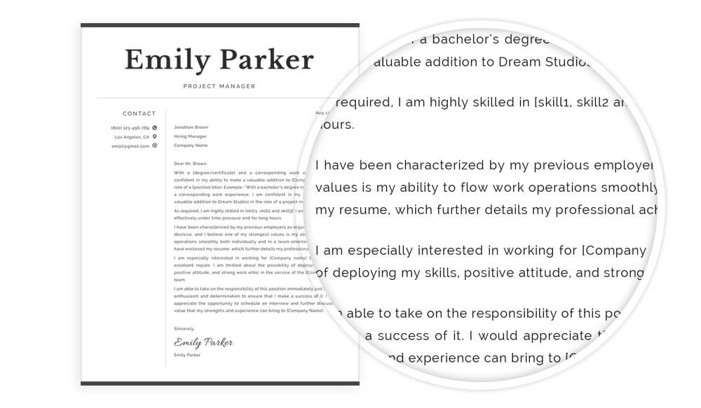 "Cover letter example Word and Pages for resume template package ""Emily"""
