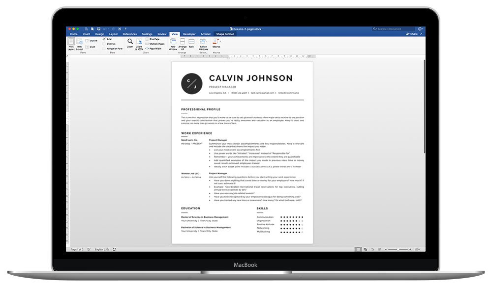 "Word resume template ""Eric"" - easy to edit"