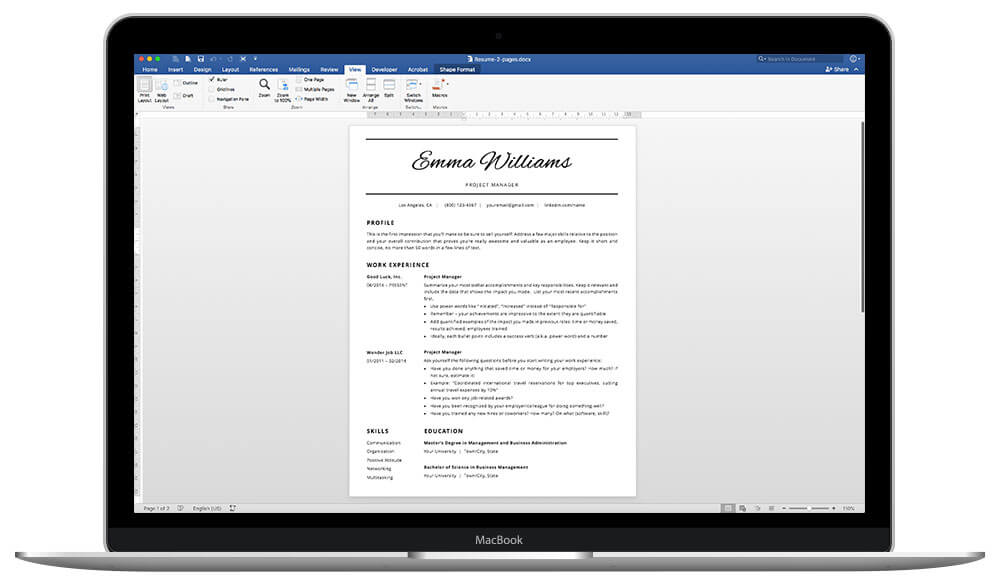 "Easy to customize resume template ""Emma"" - MS Word and Mac Pages"