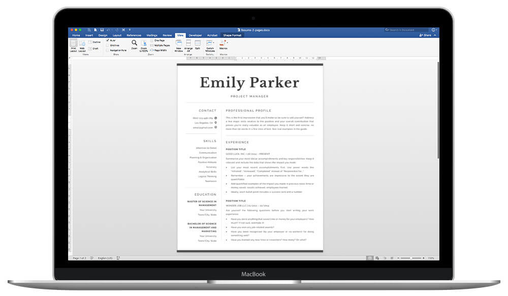 Easy to edit resume template for Word and Pages