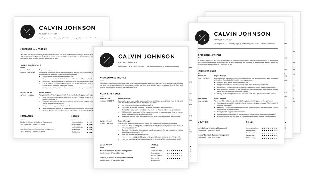 Resume templates with photo - 1, 2 and 3 page versions included