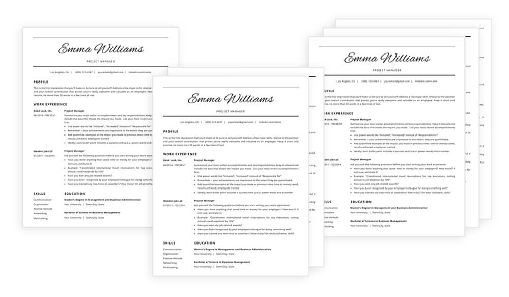 "1, 2 and 3-page resume templates / CV templates included in ""Emma"" resume makeover package"