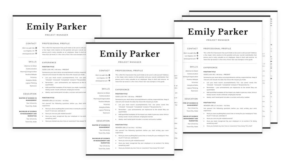 "Professional resume template ""Emily"""