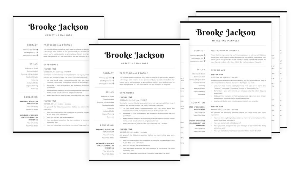 Resume templates 1, 2 and 3-page CV template