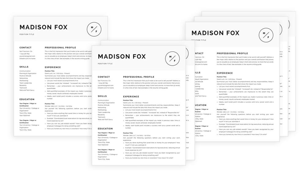 One, two and three page resume templates available