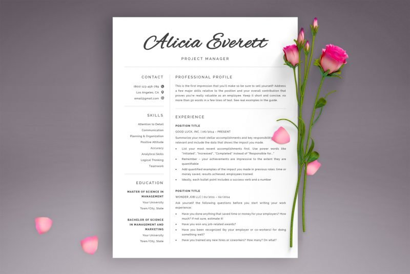 """Resume templates / Cv templates for Word and Pages """"Alicia"""""""