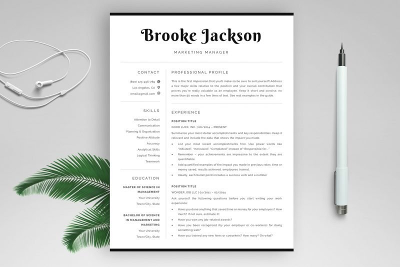 "Professional resume template ""Brooke"" - ATS-friendly, for Word and Pages"