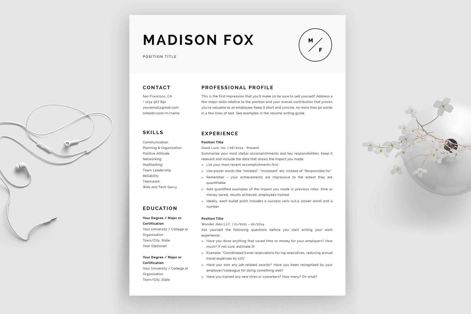 Minimal Resume Template Madison