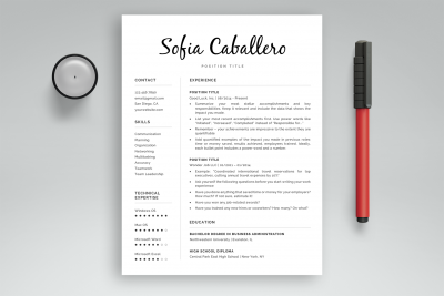 "Word resume template ""Sofia"""