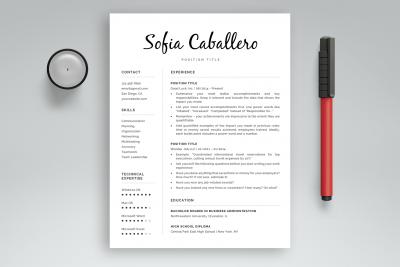 "Word resume template ""Sofia"""