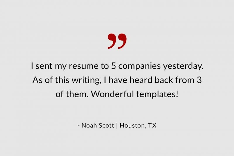 Success story - resume template review