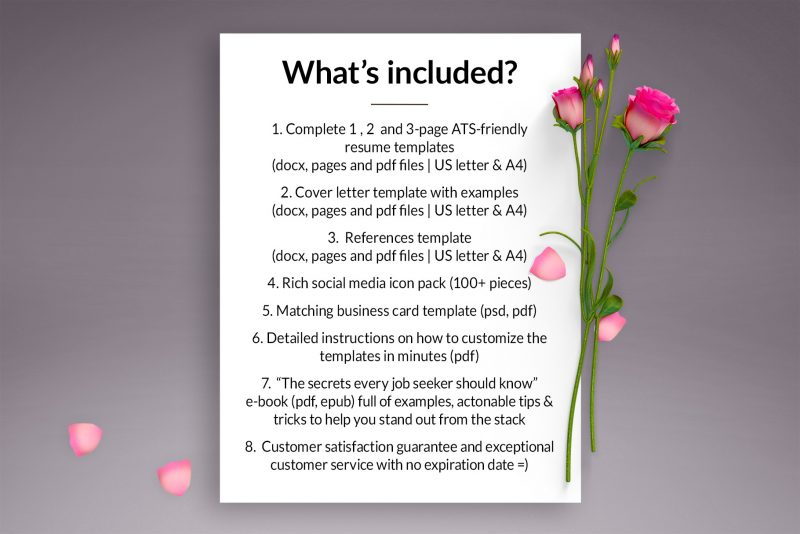 """List of resources included in """"Alicia"""" resume makeover package"""