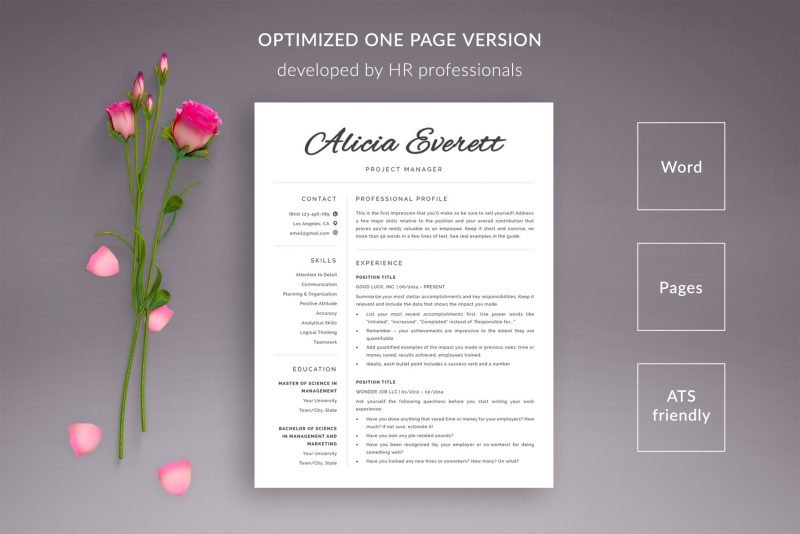 Optimized one page resume template for Word and Pages CV templates