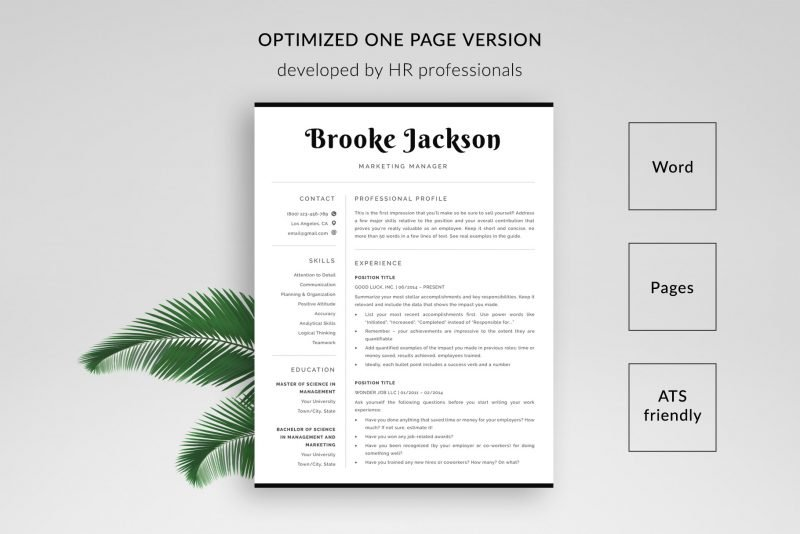 Optimized resume / CV template for Word and Pages by TemplateHippo