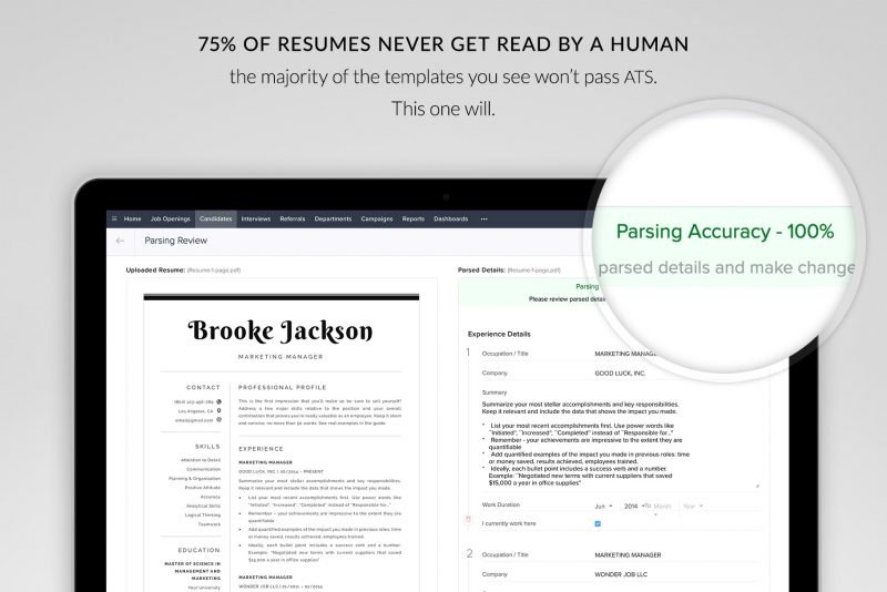 ATS-friendly resume template for word and pages