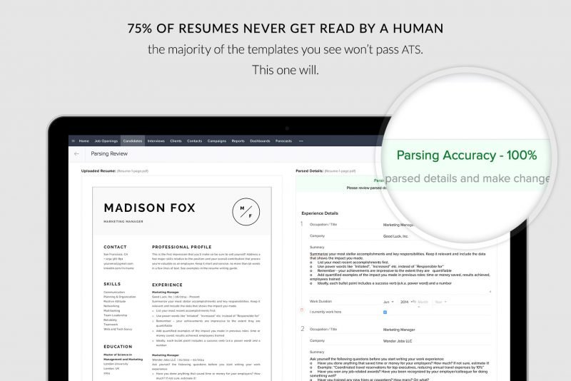 "ATS compatible resume template / CV ""Madison"""