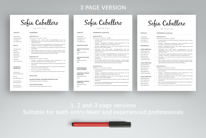 3-page resume template