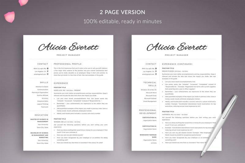 "Modern 2-page CV template / resume template ""Alicia"""