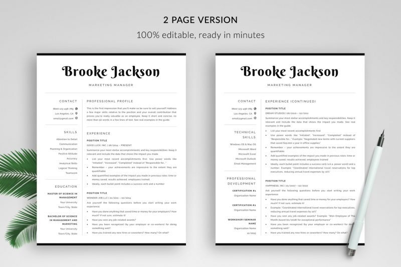 2-page resume CV templates for Word and Pages