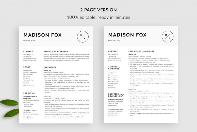 "2 page resume CV template for Word and Pages ""Madison"""