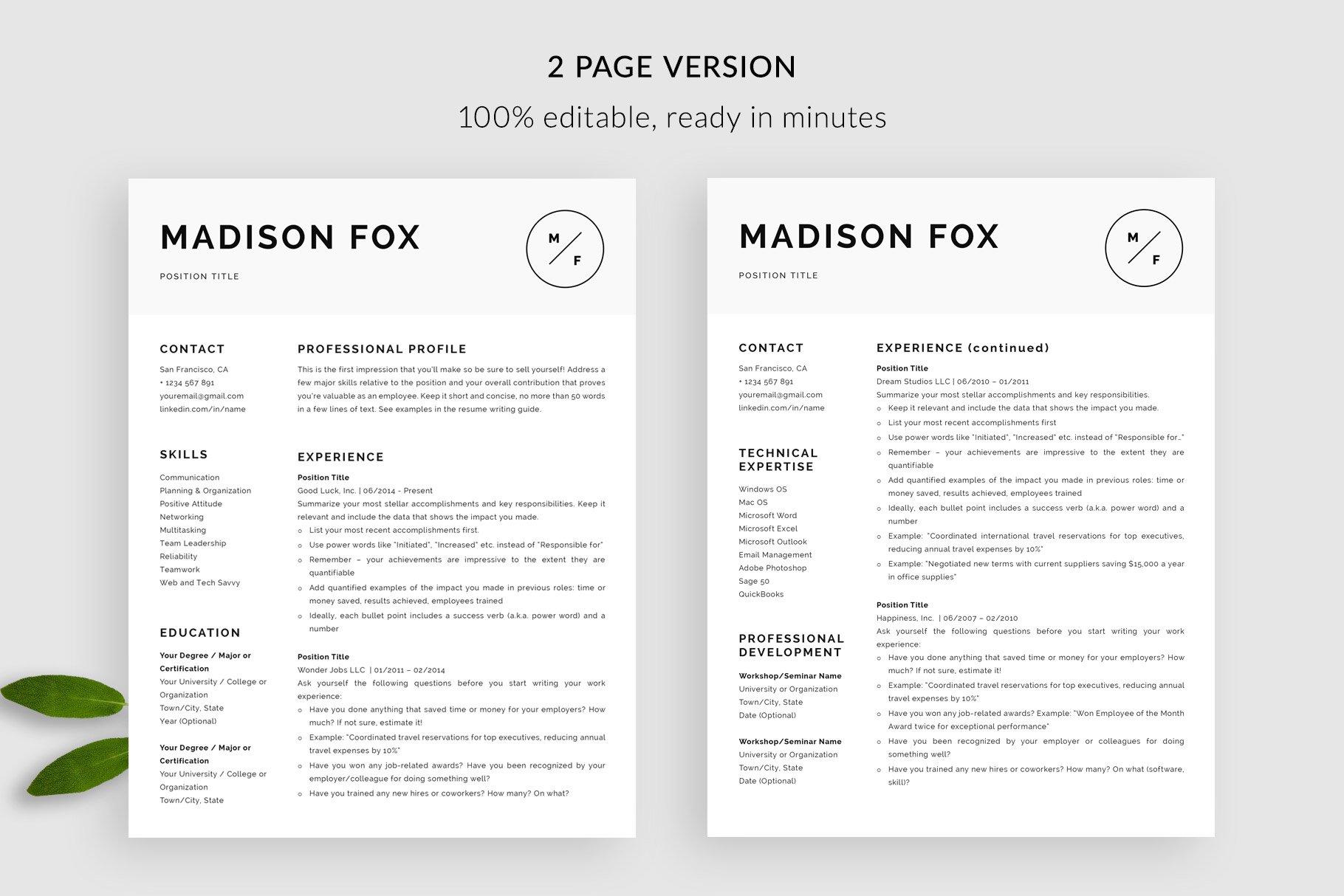 minimal resume template  u0026quot madison u0026quot