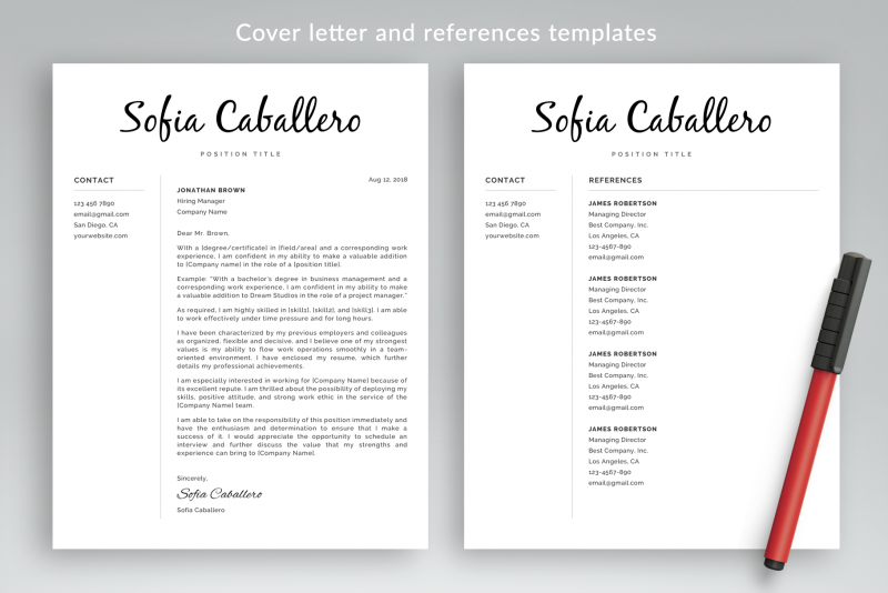 Cover letter and references