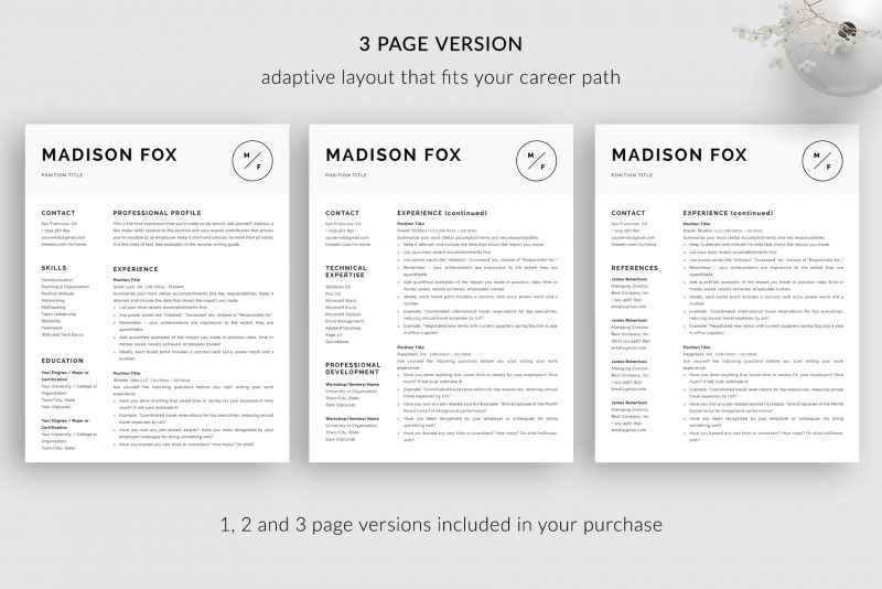 "3 page resume CV template for Word and Pages ""Madison"""