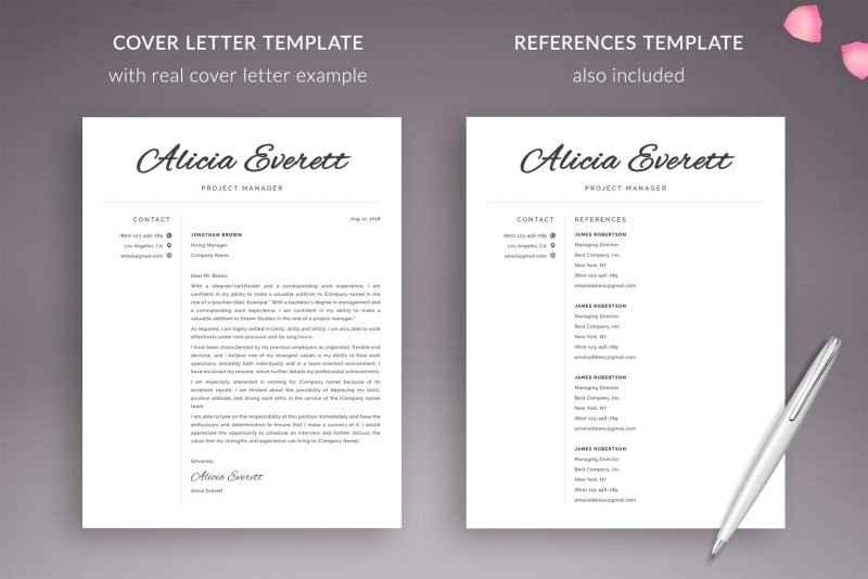 Cover letter with real example and references page