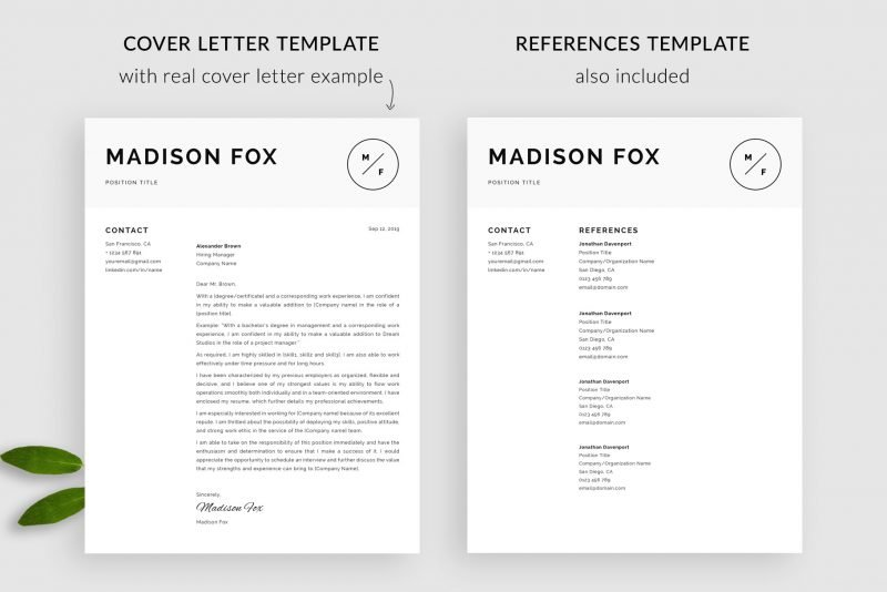 "Cover letter template and references page in ""Madison"" resume template package"