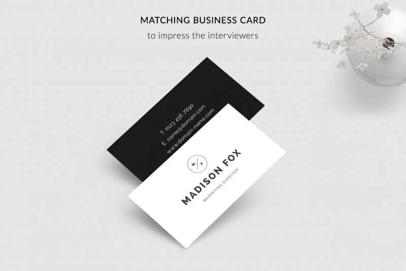 "Business cards - pdf and psd - included in ""Madison"" resume template"