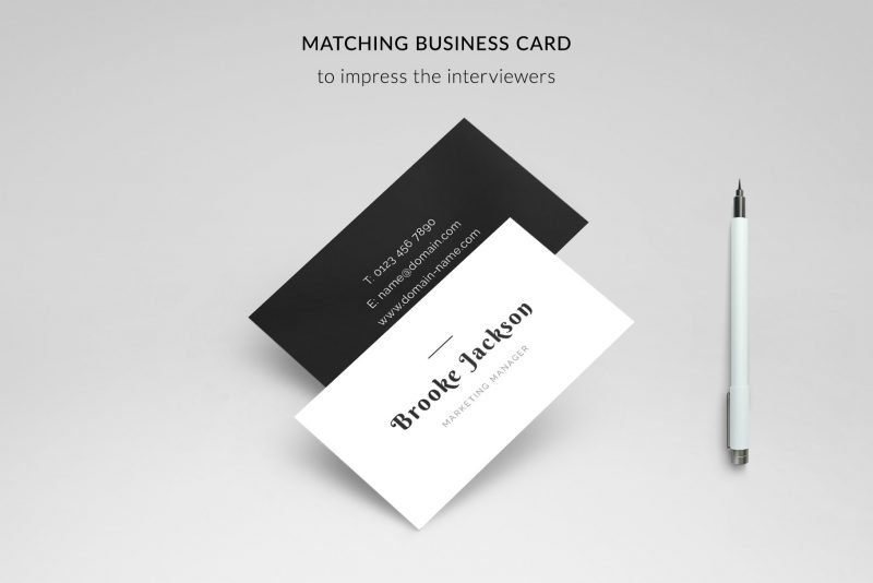 "Matching cards included in ""Brooke"" resume template package"