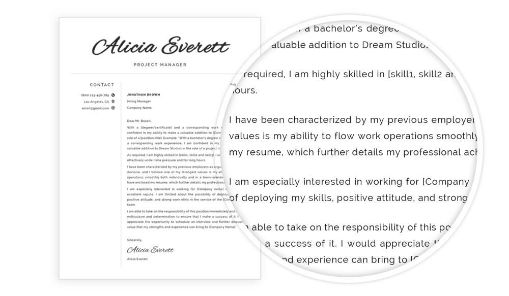 Cover letter example included