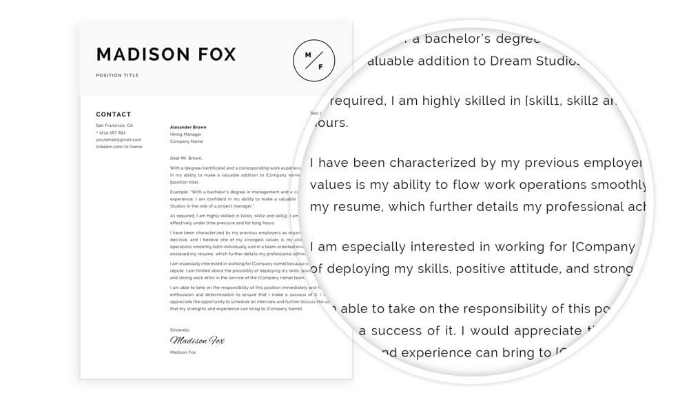 Cover letter with content example included