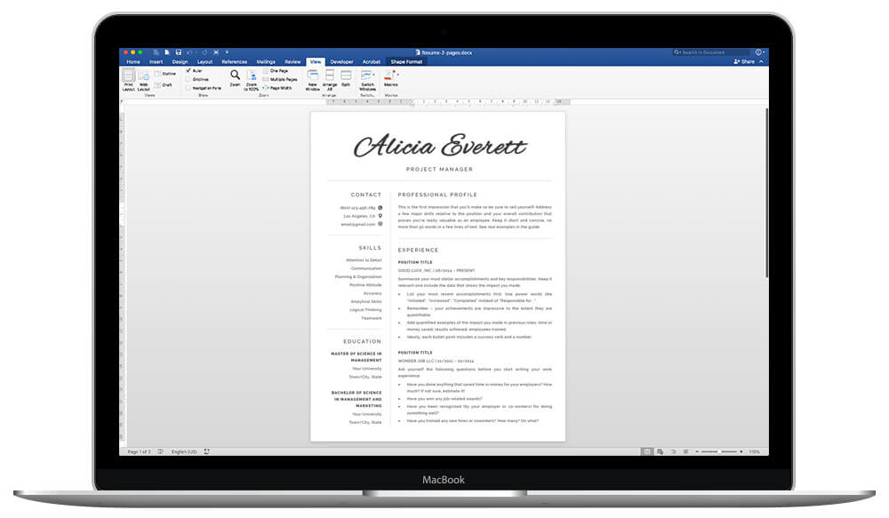 Easy to edit resume template fin Word and pages