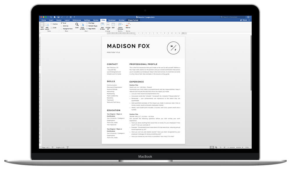 Madison is 100% editable and easy to customize resume template