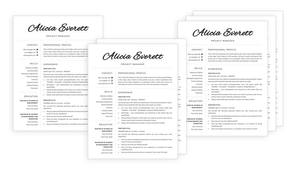 All-in-one resume templates for Word and Pages