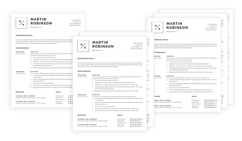 1, 2 and 3-page resume templates included