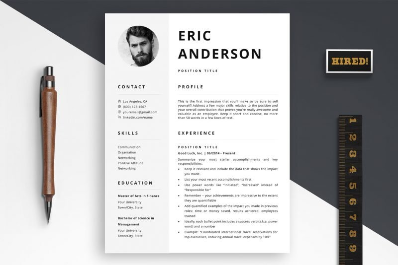 """Modern resume template with photo for Word and Pages """"Eric"""" by TemplateHippo"""