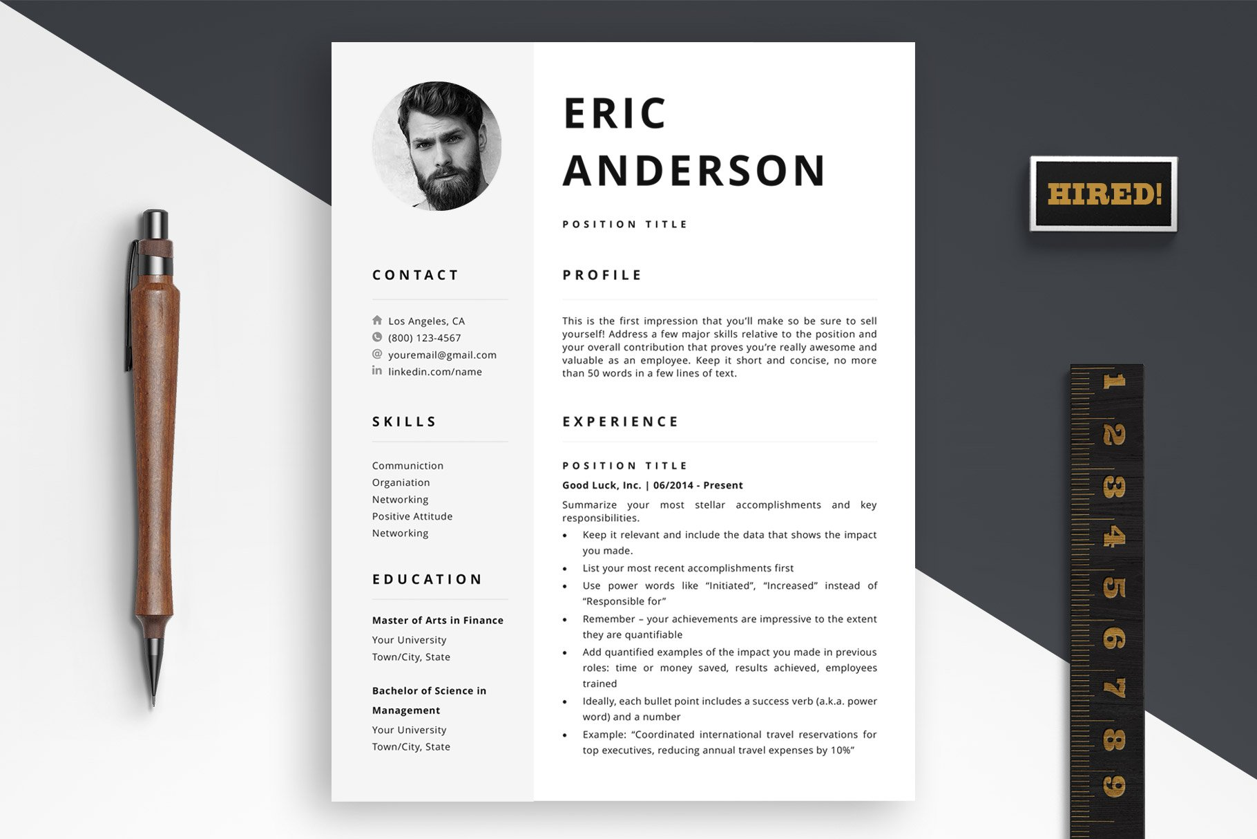 resume template with photo   cover letter example   free e