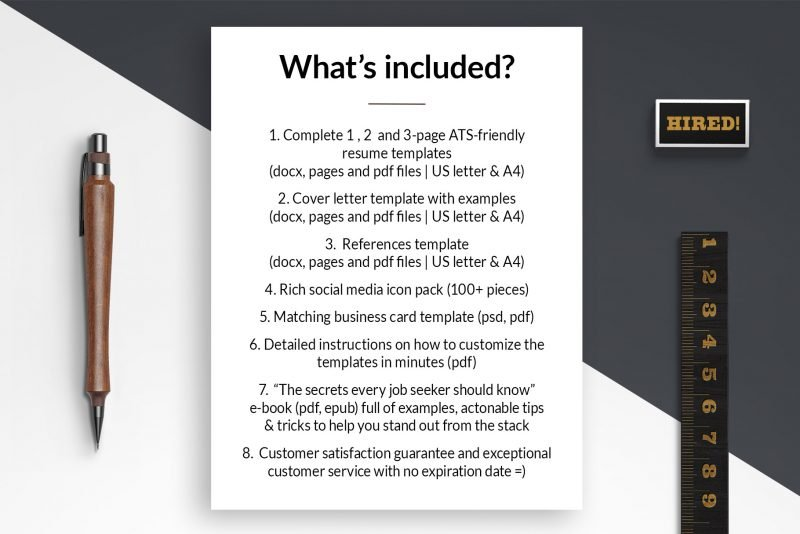 """Resources list - resume makeover package """"Eric"""" by TemplateHippo"""