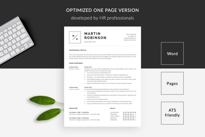 "Minimal resume template 1-page ""Martin"" for Microsoft Word and Mac Pages"