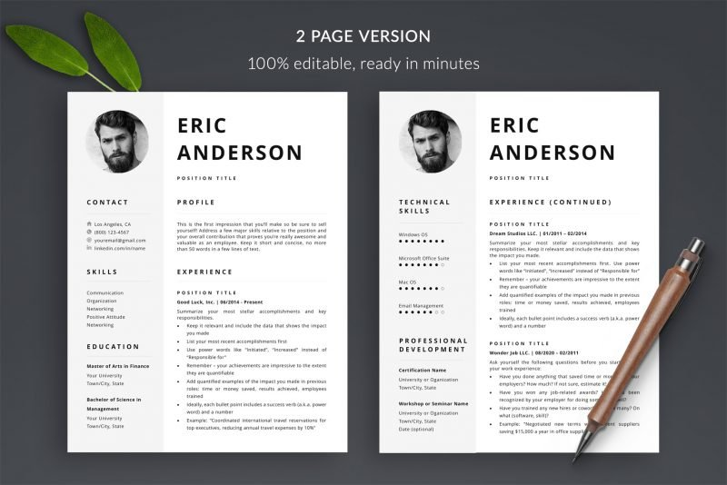 "2-page photo resume template ""Eric"" for Microsoft Word and Mac Pages"