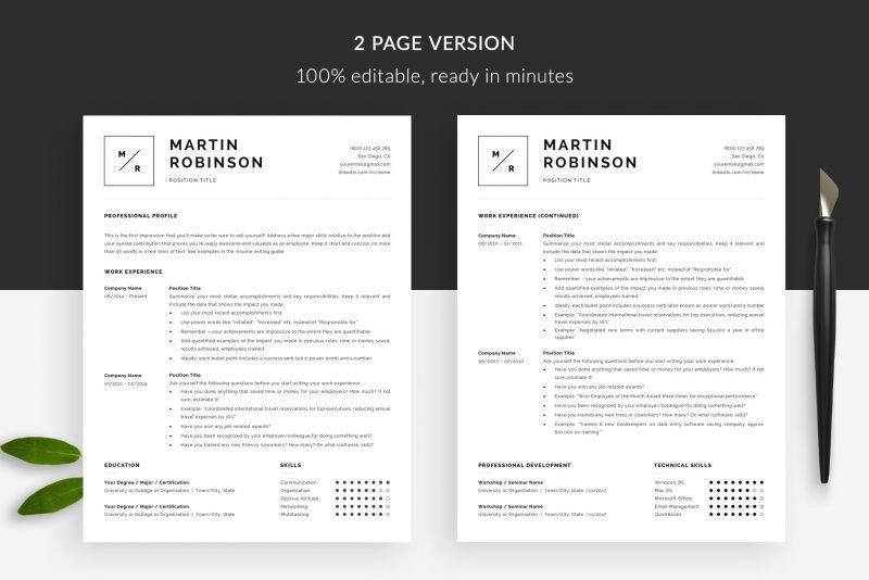 "Minimal resume template 2-page ""Martin"" for Microsoft Word and Mac Pages"