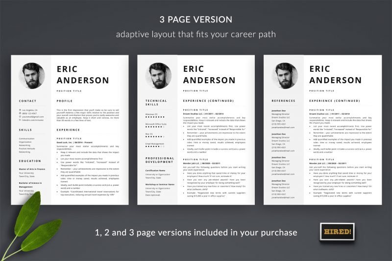 "3-page photo resume template ""Eric"" for Microsoft Word and Mac Pages"