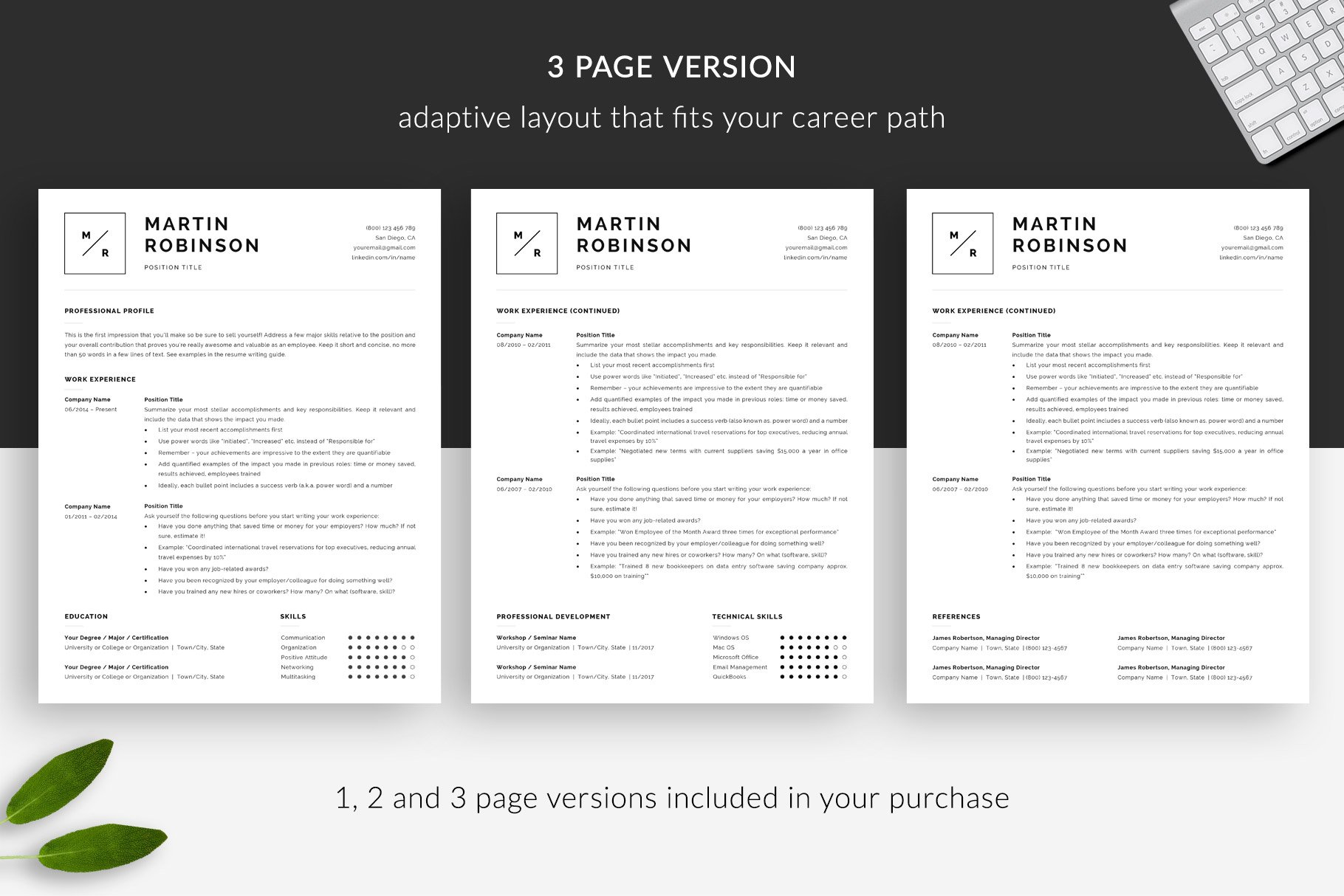 3 Page Resume.Minimal Resume Template Martin Minimal Cv Cover Letter Example