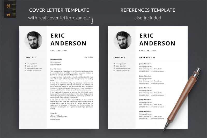 Cover letter and references templates included