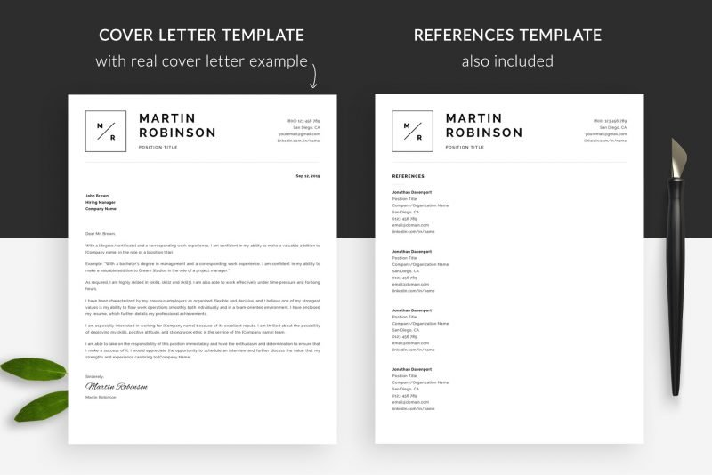 Minimal cover letter example and references included