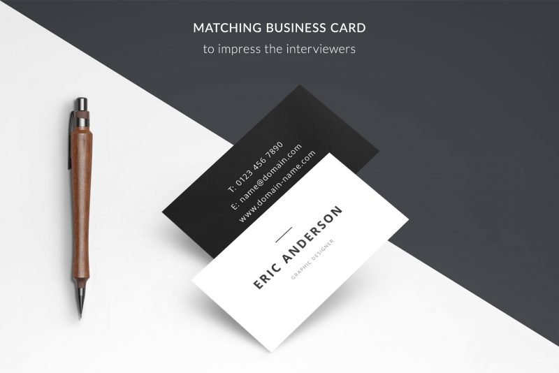 """Business card templates psd and pdf included in resume template package """"Eric"""""""