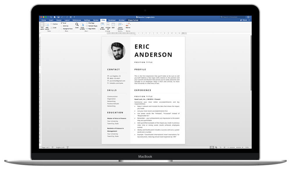 Easy to edit in Word resume template with photo Eric
